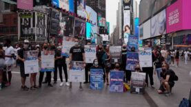 Animal Welfare Demonstrators Takes a Stand at M&M's World in Times Square.